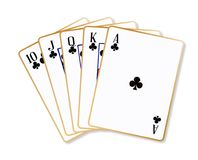 Ace Clubs Flush. Playing cards making a ace clubs flush over a white background royalty free illustration
