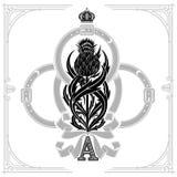 Ace of clubs form and thistle floral pattern inside belt and ribbon form. Design element black stock illustration