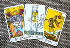 Ace of Cups New love Joy Happiness Happy News Beginnings of Love The Lovers The Fool background. Ace of Cups is about New love Love Joy Happiness Happy News royalty free stock images