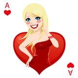 Ace de corações Fotografia de Stock