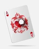 Ace de corazones con un agujero de bala aislado en blanco Imagen de archivo