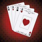 Ace de espadas, as de corazones, as de diamantes, as del póker de los clubs carda el fondo blanco rojo Fotos de archivo libres de regalías