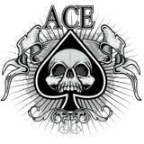 Ace de espadas con el cráneo Foto de archivo