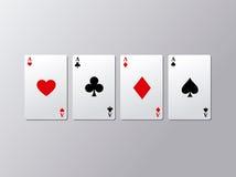 Ace-de reeks van de pookkaart Vier aaskaarten Vector illustratie Royalty-vrije Stock Afbeelding