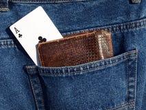 Ace in der Tasche Stockbild