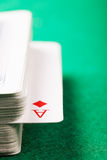 Ace of diamonds in card deck closeup Stock Images