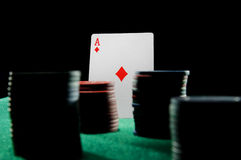 Ace of diamonds with chips Stock Images