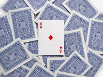 The ace of diamonds on a deck of playing cards stock image