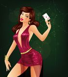 Ace of Diamonds. Female poker player is holding an ace of diamonds card in her hand Stock Photos
