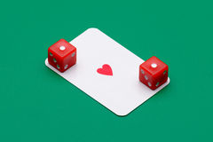 Ace of diamonds and two dice Royalty Free Stock Image