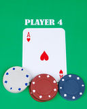 Ace with gambling chips Royalty Free Stock Images