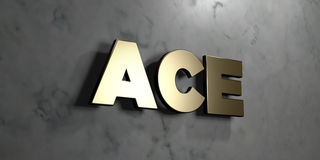Ace - Gold sign mounted on glossy marble wall  - 3D rendered royalty free stock illustration. This image can be used for an online website banner ad or a print Stock Photos