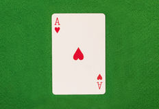 Ace On Green Table. Isolated Royalty Free Stock Image