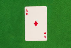 Ace On Green Table Royalty Free Stock Photos