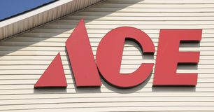 Ace Hardware Store. Ace Hardware sells home improvement, lawn mowers, garden equipment, sod and other items for enhancing property Stock Photo
