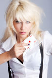 Ace heart. Blond woman with ace heart in hand Stock Photo