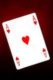 Ace of hearts. On red background stock image