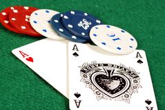 Ace of hearts and ace of spades Royalty Free Stock Photo