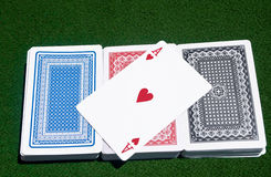 Ace of Hearts across three decks Stock Image