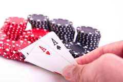 Ace of hearts and black jack. With poker chips on white background royalty free stock images