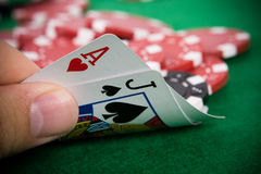 Ace of hearts and black jack Royalty Free Stock Photos