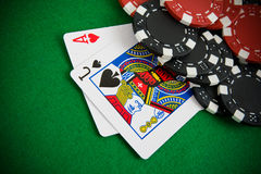 Ace of hearts and black jack Royalty Free Stock Images