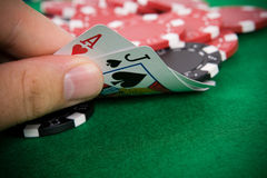 Ace of hearts and black jack Royalty Free Stock Photo
