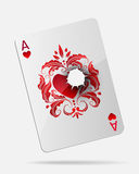 Ace of hearts with a bullet hole isolated on white. Vector. Ace of hearts playing card with a bullet hole, isolated on white background. EPS10 royalty free illustration