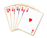 Ace Hearts Flush Royalty Free Stock Photo