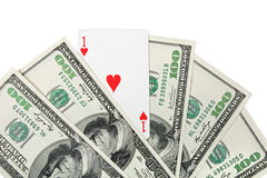 Ace of hearts and money Royalty Free Stock Images
