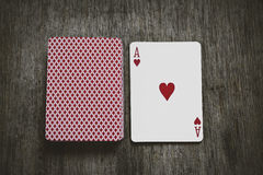 Ace of hearts play cards Stock Photo