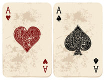 Ace of Hearts & Spades. Vector illustration. Ace of Hearts & Spades Royalty Free Stock Photo