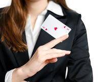 Ace of hearts on woman hand Royalty Free Stock Photos