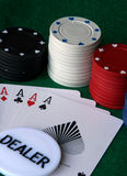 Ace high poker chips Royalty Free Stock Photo