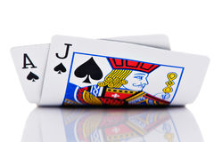 Ace and Jack. Hand on white Stock Photography