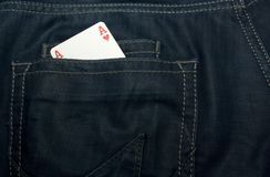 Ace in jeans Royalty Free Stock Photo