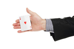 Ace kardieren in der Hand Lizenzfreie Stockbilder