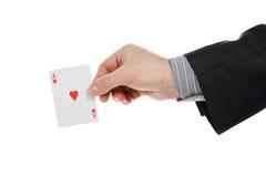 Ace kardieren in der Hand Stockbild
