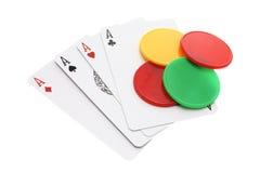 Ace Karten und Spiel-Chips Stockfoto