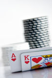 Ace and King. Pocker Ace and  King with chips in background Stock Image