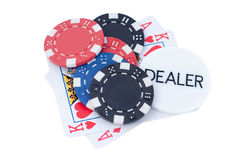 Ace, king, chip and dealer Stock Photos