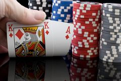 Ace, King & chips  Poker game Royalty Free Stock Image