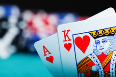 Ace and king with gambling chips Stock Photography