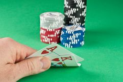 Ace King With Poker Chips Royalty Free Stock Photo