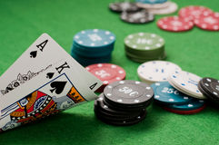 Ace and king and poker chips Royalty Free Stock Photography