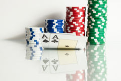 Ace king with poker chips with reflection Stock Photos