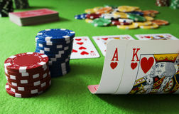 Ace King and Royal flush Stock Photography