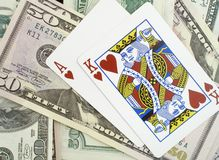 Ace and king suited. Suited ace and king - highest starting hand in texas hold'em poker royalty free stock photography