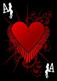 Ace of Love. Illustration with a grunge heart and other design elements royalty free illustration