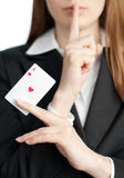 Ace Of Hearts On Woman Hand Stock Photo